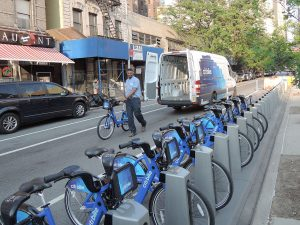 An example of a bikeshare docking station in New York City