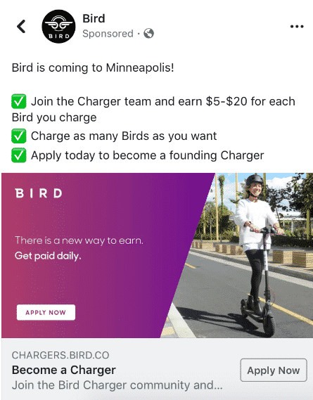 bird charger ad