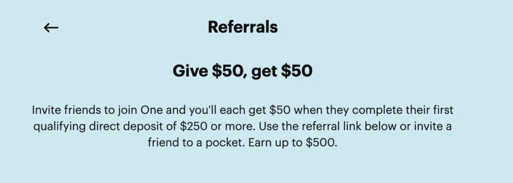 one finance referral bonus